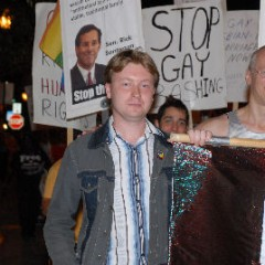 Nikolai Alekseev marching with Andy Thayer in the Matthew Shepard March 2007.